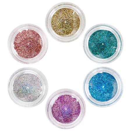 Maniology (formerly bmc) 6pc Super Cute Holographic Fine Glitter Pot Nail Polish Art Accessory Set