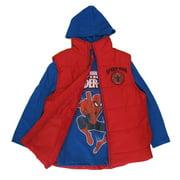 Boys Royal Blue Red Spiderman Print Hooded Shirt Puffer Vest 8-16