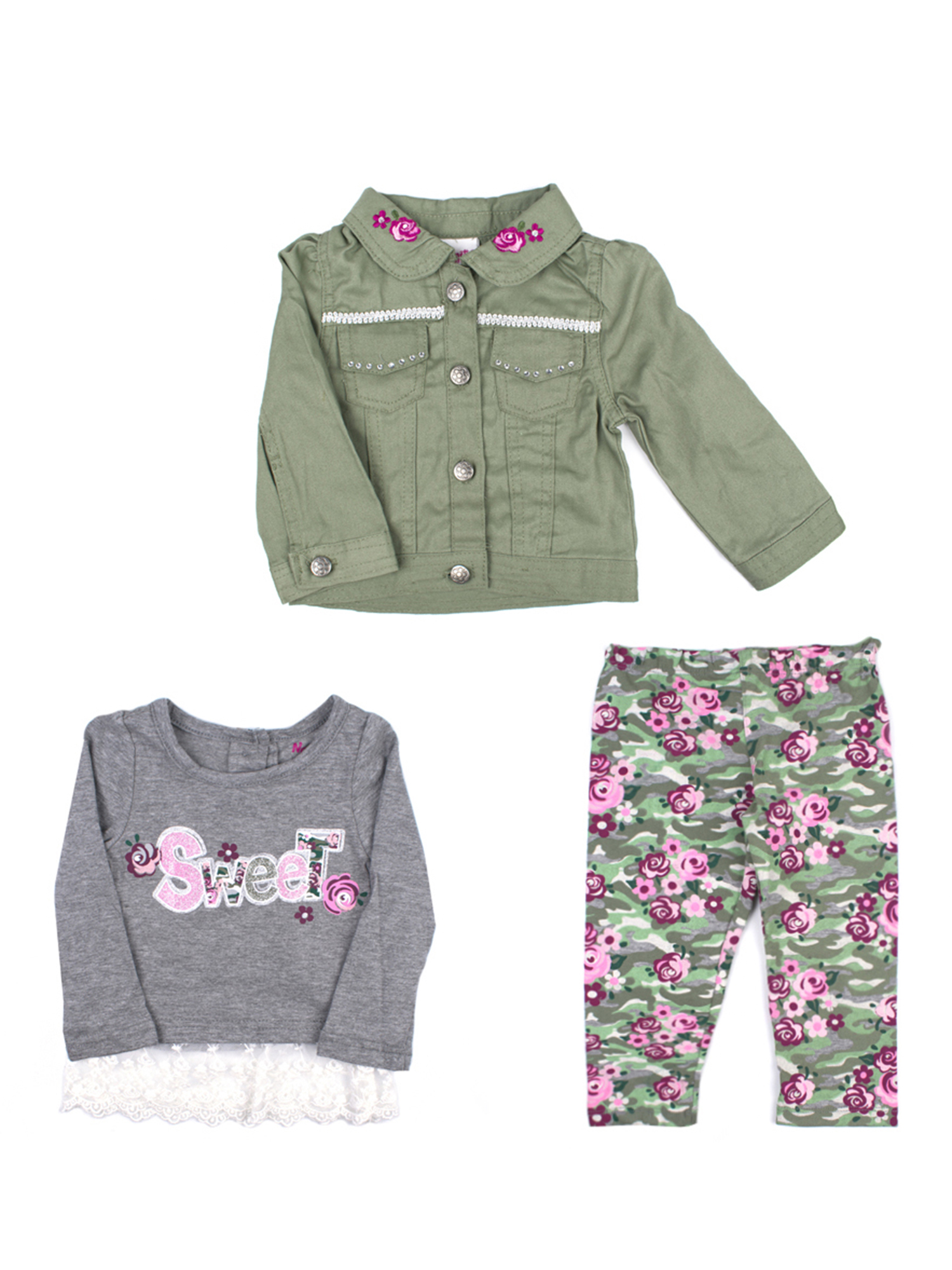 Twill Jacket, Lace Hem Long Sleeve Tee, and Legging, 3-Piece Outfit Set (Little Girls)