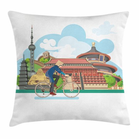- Ancient China Throw Pillow Cushion Cover, Chinese Elements Traditional Architecture and Costumes Behind a Cycling Man, Decorative Square Accent Pillow Case, 18 X 18 Inches, Multicolor, by Ambesonne