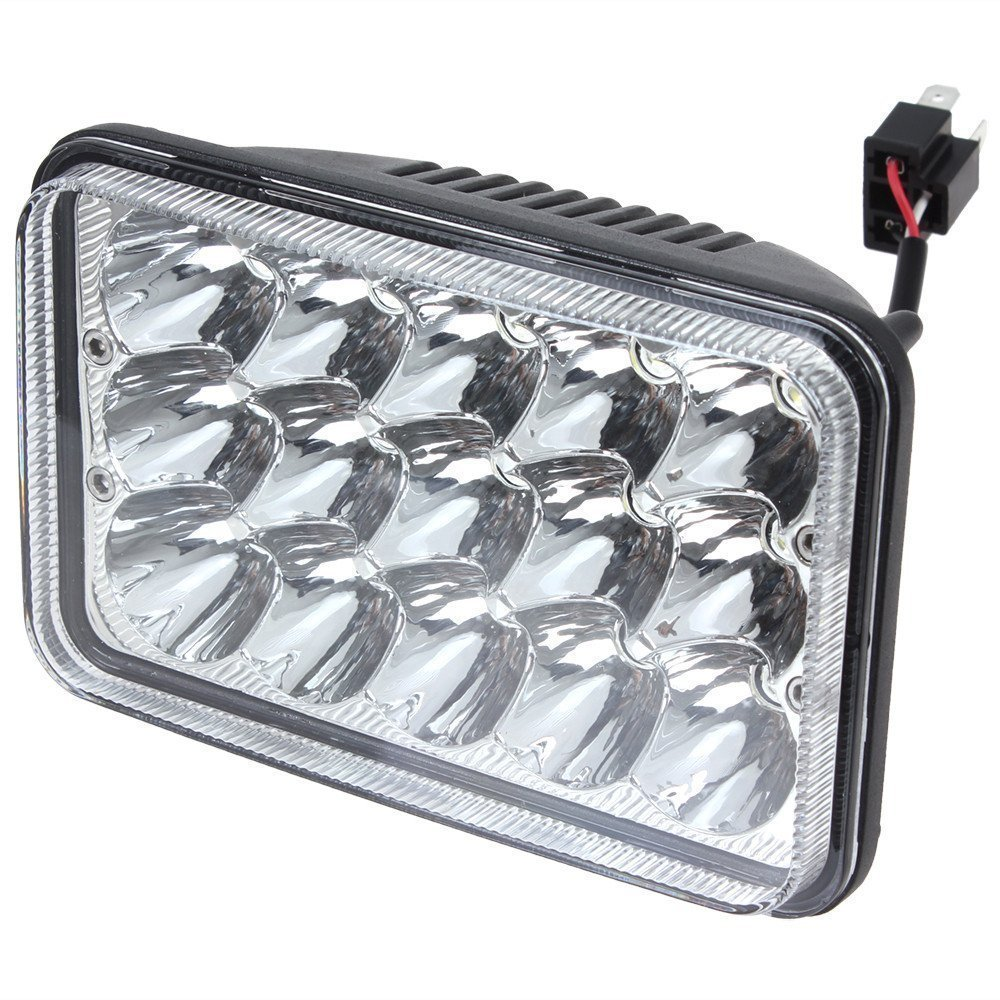 4x 6''Inch 15 LED 45W Bulb Light Sealed Beam Working HeadLight Lamp 24V/12v  w/ H4 Plug for Peterbilt Kenworth FREIGHTLINER