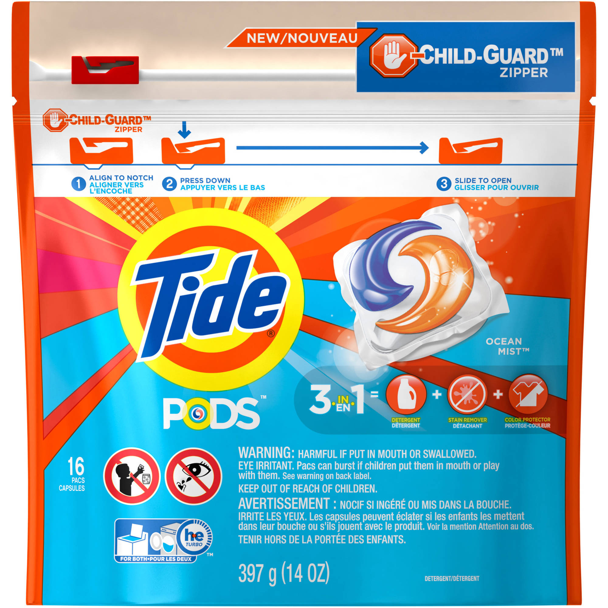 Tide PODS Laundry Detergent, Ocean Mist, 16 Loads, 16 count, Designed for Regular and HE Washers