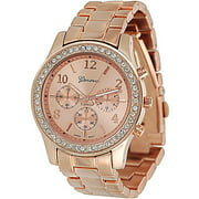 Brinley Co. Women's Rhinestone-Accented Link Watch, Stainless Steel and Base Metal