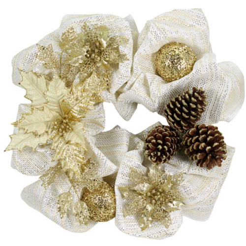 Holiday Time White/Gold Wreath, 20""