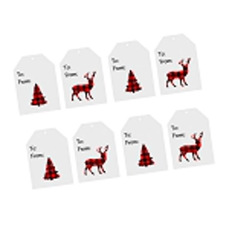 Christmas Holiday Lumberjack Red & Black Buffallo Plaid Collection (32pack White Gift - Halloween Gift Tag Ideas