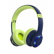 Mpow CH9 Bluetooth 5.0 Kids Headphones, 85dB Safe Volume Limit, Foldable Adjustable Stereo Sound Headphones with LED and Microphone, for Tablet/Cellphones/PC/Kindle/Airplane Blue & Pink 2Pack