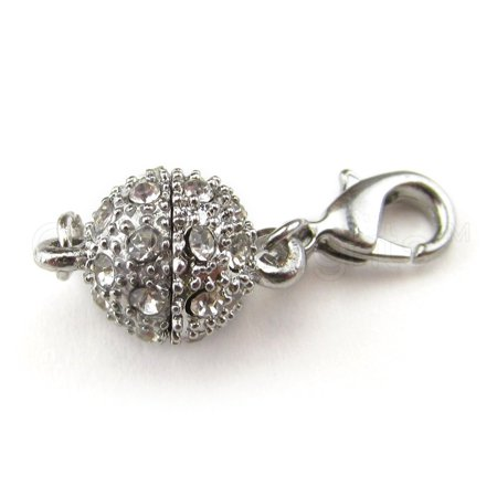 Lobster Ball Machines - 20 Pack - CleverDelights Magnetic Jewelry Clasps - Rhinestone Ball Style + Lobster Clasp - Silver Color