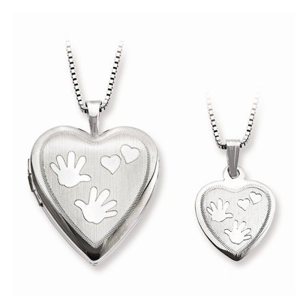Sterling Silver Polished Satin Hand And Hearts Locket And Pendant (One Tree Hill Locked Hearts And Hand Grenades)