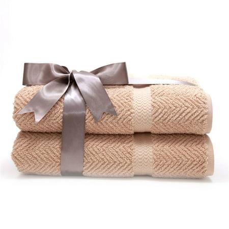 Luxury Hotel & Spa Herringbone Weave 100% Turkish Cotton Bath Towels - Set of 2 Water Weaves Towel Set