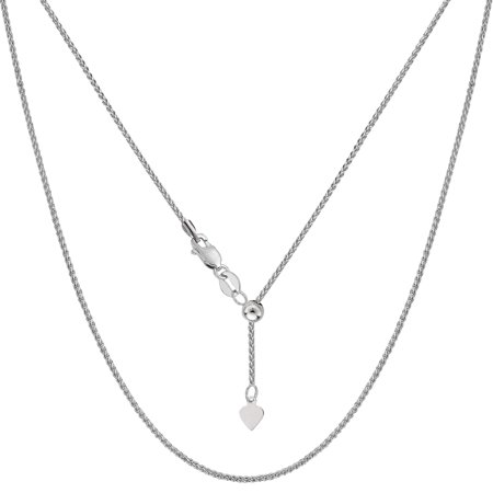 14k White Gold Adjustable Wheat Chain Necklace, 1.0mm, 22 ()