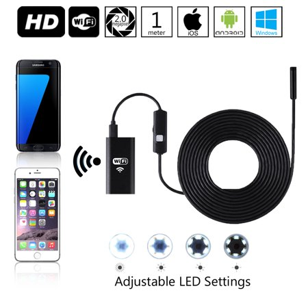 Indigi® Wireless WiFi Enabled Snake Camera [ 1M Length - iOS & Android - Waterproof - 8x Adjustable LEDs] - image 1 de 5