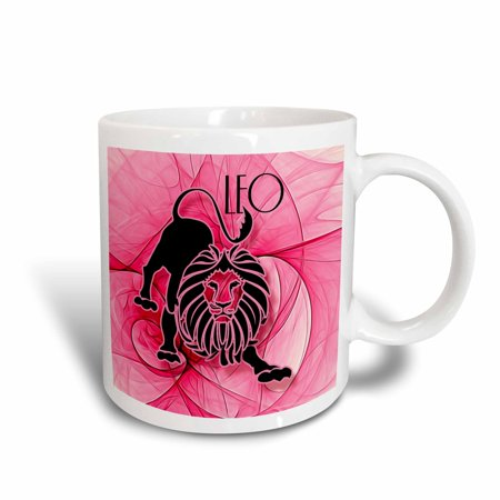 3dRose Lady Leo in Pink and Black Swirls Zodiac Collection, Ceramic Mug, 11-ounce (Black Swirl)