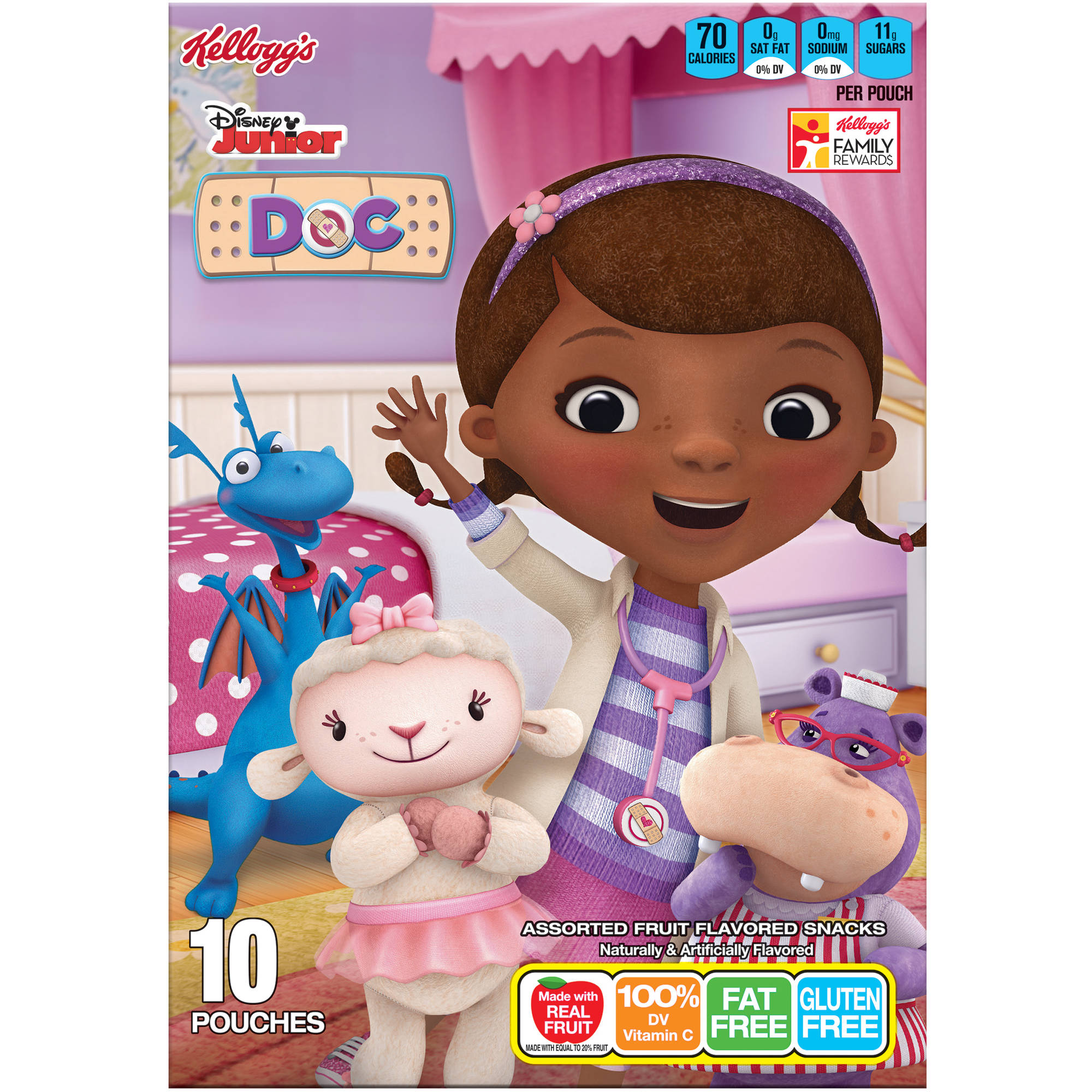 Kellogg's Disney Doc McStuffins Fruit Flavored Snacks, 10 count, 8 oz