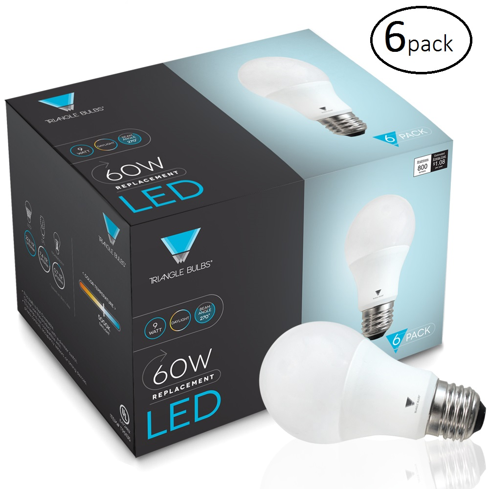 TriGlow T95135-6 A19 LED Light Bulbs 60 Watt Equivalent Light Bulb, Daylight (5000K) 6 Pack