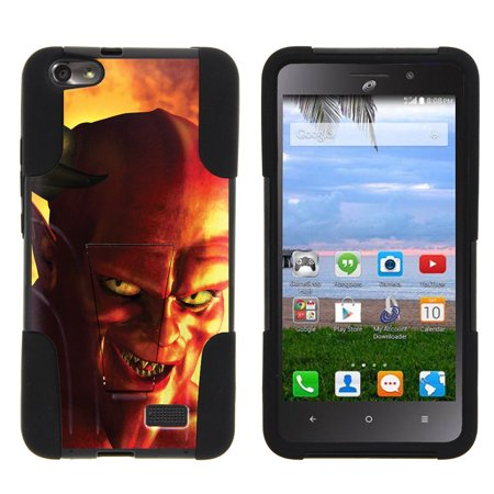 Huawei Raven LTE H892L STRIKE IMPACT Dual Layer Shock Absorbing Case with Built-In Kickstand - Red Devil](Demon Teeth)