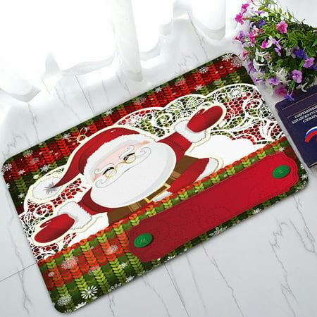 PHFZK Festival Doormat, Merry Christmas Santa Claus Saying Hello to You Doormat Outdoors/Indoor Doormat Home Floor Mats Rugs Size 30x18 inches ()