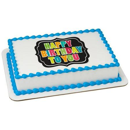 Happy Birthday Plaque Edible Cake Topper Image