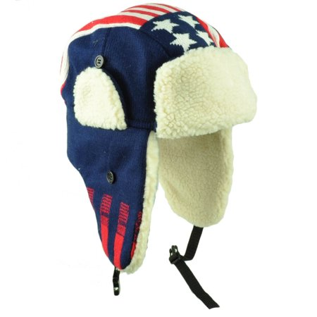 United State America Flag Trapper Aviator Knit Beanie Fleece Nordic Hat Ear Flap