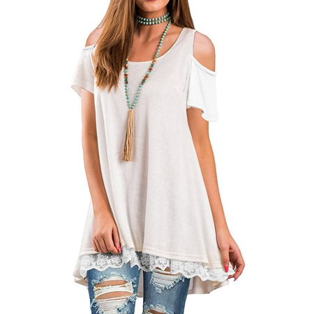 Lace Shoulder Button - DYMADE Women's Short Sleeve Cold Shoulder Tops Lace Scoop Neck Flowy Solid Tunic Blouse