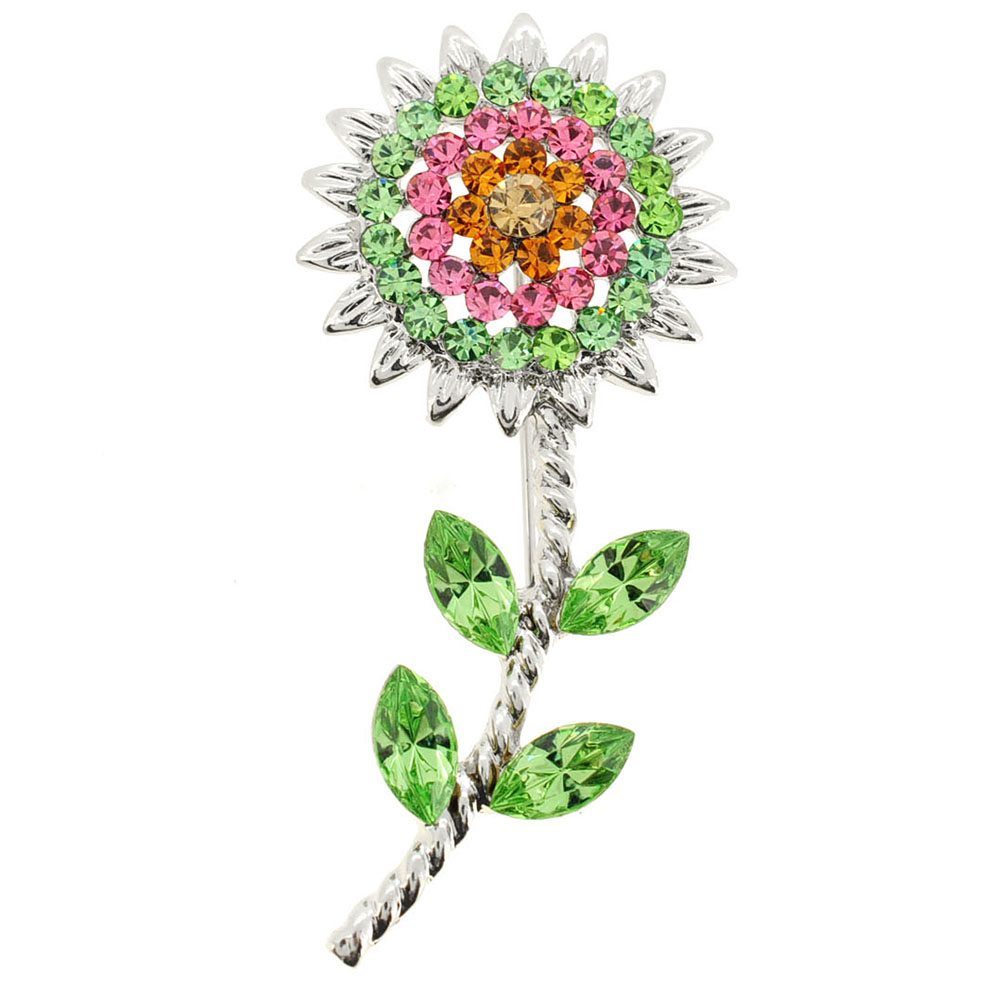 Green Pink Sunflower Crystal Pin Brooch by