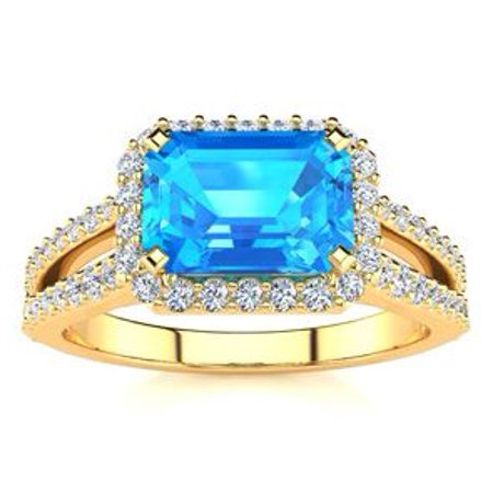 1 1/2 Carat Emerald Shape Antique Blue Topaz and Halo Diamond Ring In 14 Karat Yellow Gold Size