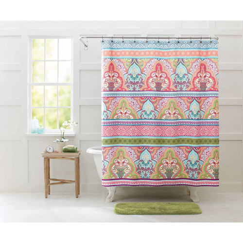 "Better Homes and Gardens Jeweled Damask 70"" x 72"" Polyester Shower Curtain by Victoria Classics"