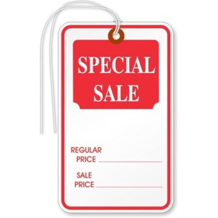 Special Sale Large, White stock, Red ink, w/String, 1000 Tags / Pack, 1.75