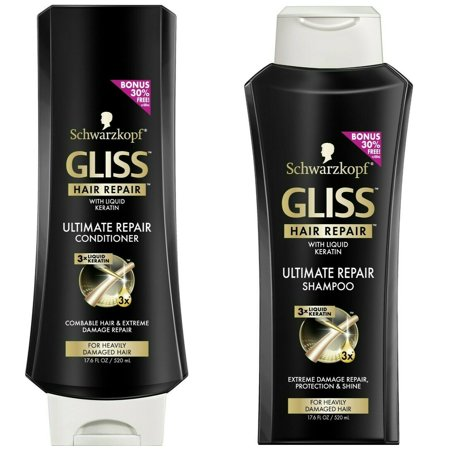 Gliss Ultimate Repair Shampoo & Conditioner by Schwarzkopf Hair Repair Set for Combable & Heavily Damaged Hair - 17.6 Fl Oz Shampoo + 17.6 Fl Oz (Schwarzkopf Shampoo And Conditioner For Colored Hair)