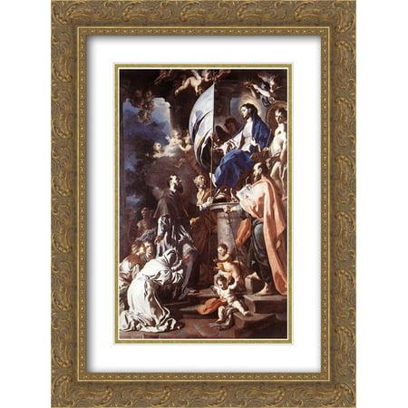 Francesco Solimena 2x Matted 20x24 Gold Ornate Framed Art Print 'St. Bonaventura Receiving the Banner of St. Sepulchre from the (Matt Banner)