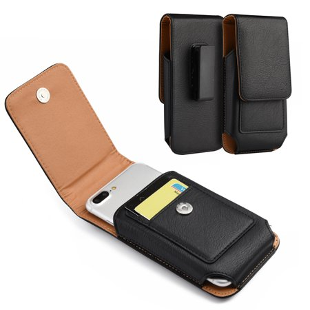For Alcatel Jitterbug Smart, Jitterbug Smart2 Vertical Leather Belt Clip Case w/ 2 Card Slots (Vodafone Smart 2 Case)