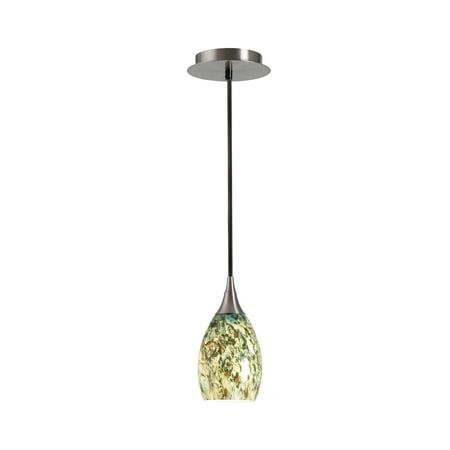 Four Light Pendant Finish (Kenroy Home Modern 1 Light Mini Pendant, 4 Inch Diameter, Brushed Steel Finish, Blown Glass Shade,)