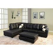 Beverly Fine Furniture F91A-3PC Cavenzi Black Faux Leather Left-facing Sectional Sofa Set
