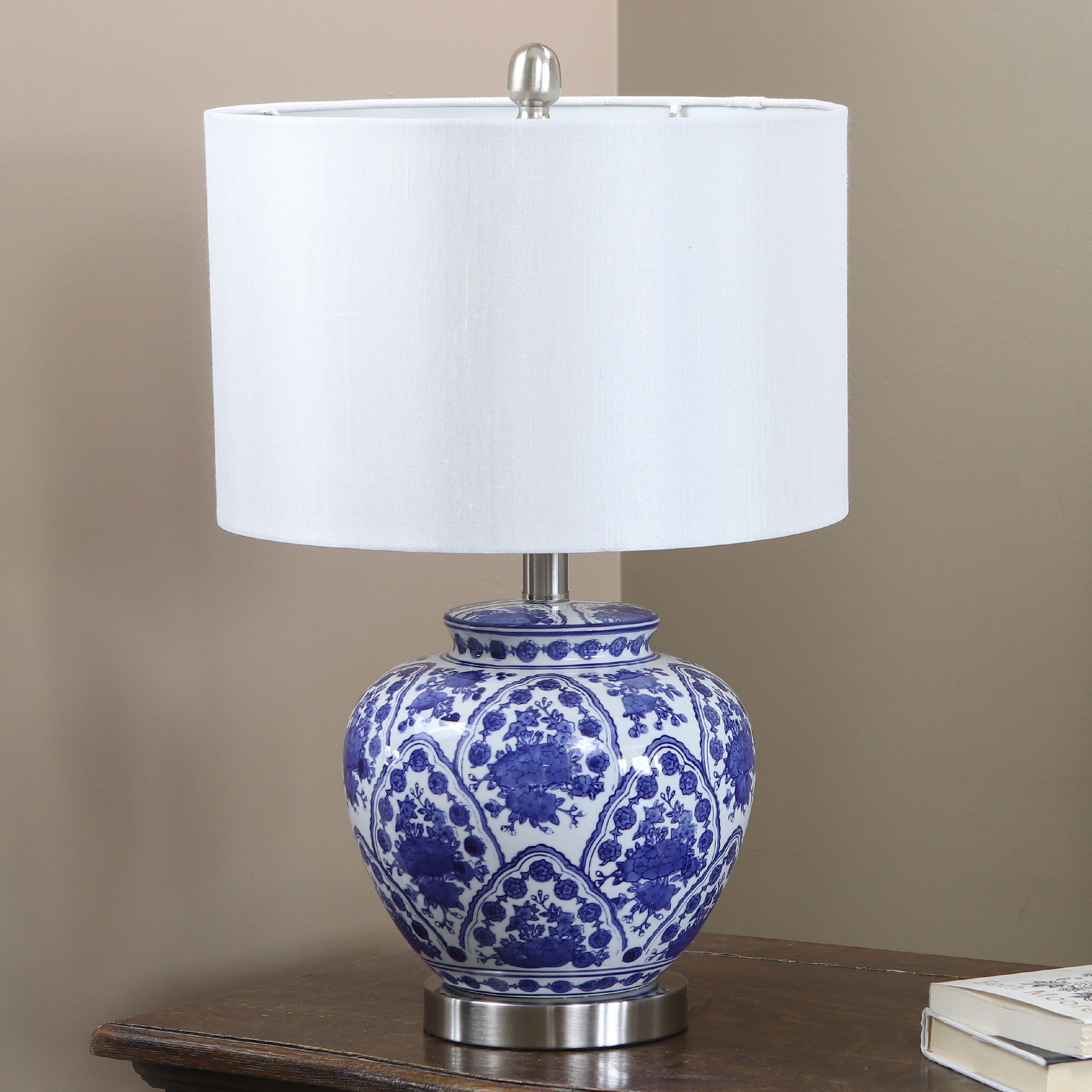 "20"" Blue and White Ceramic Table Lamp"