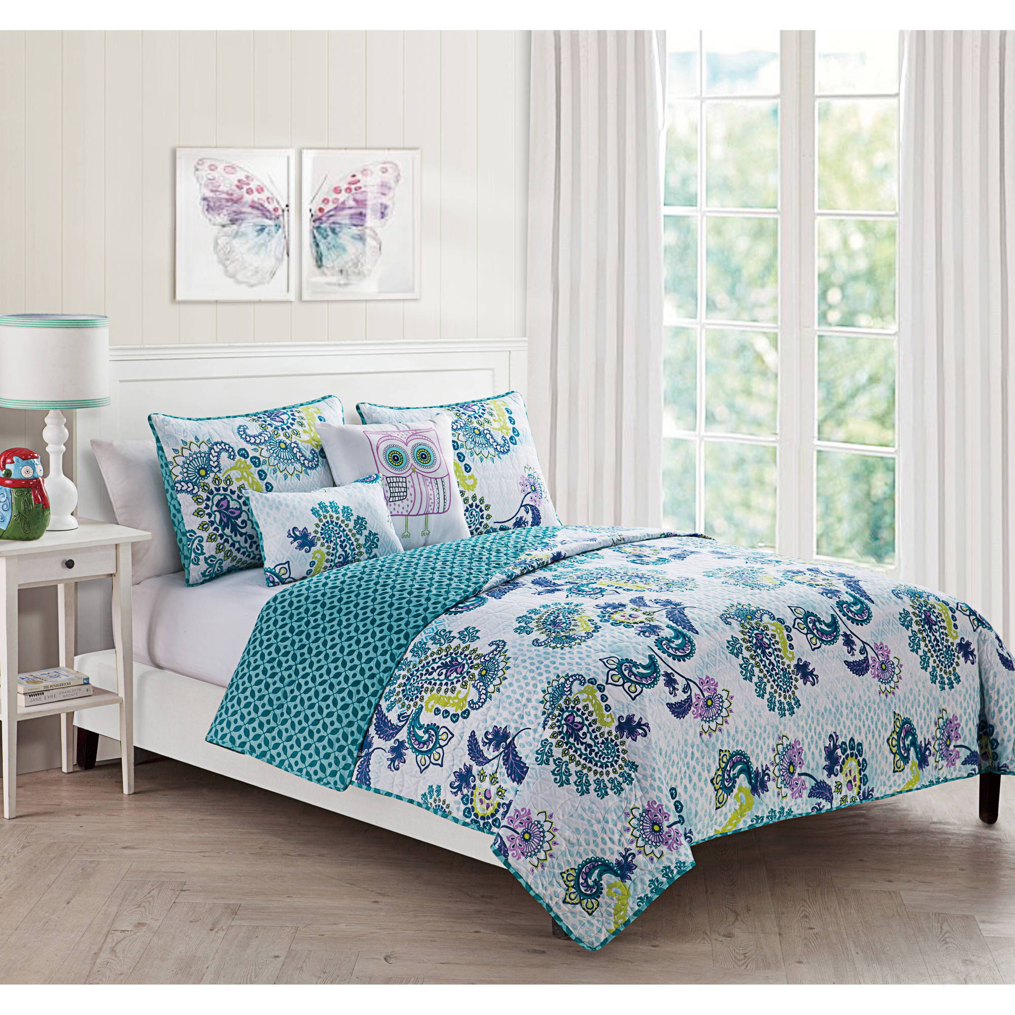 owl bedding - vcny samantha multicolored paisley piece reversible bedding quilt setdecorative owl