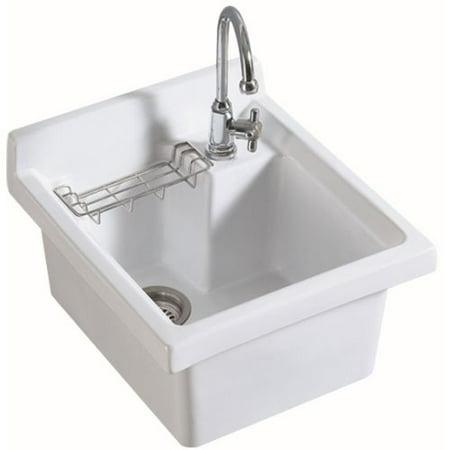 "Whitehaus WH474-53 Rectangular Basin 21"" x 21 - 1/4"" Drop In Single Faucet Hole"