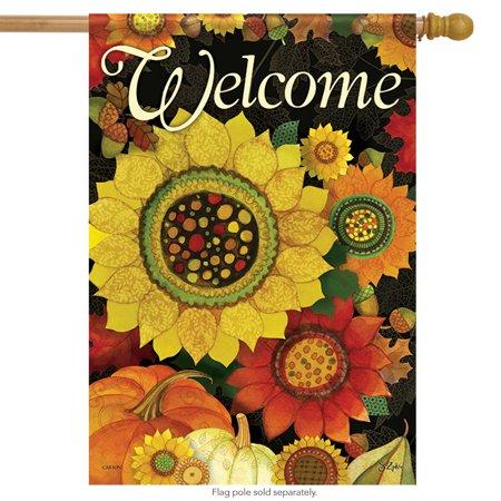 "Autumn Sunflowers Fall House Flag Welcome Decorative Pumpkin Floral 28"" x 40"""