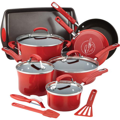 Rachael Ray Hard Enamel Non-Stick Cookware Set, 14 Piece