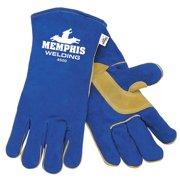 MCR SAFETY Glove, Welder, Cowhide, Blue, 2XL, PR 4500XXL