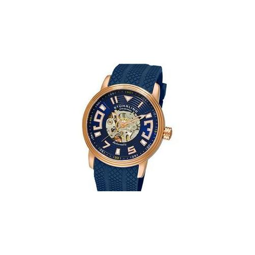 Stuhrling Original 1079. 3346C6 Mens Delphi Archer Skeleton Watch on a Rose Tone Case with Blue Skeletonized Dial