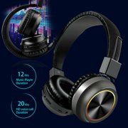 EEEKit Active Noise Cancelling Headphones Bluetooth Headphones with Mic Deep Bass Wireless Headphones Over Ear, Comfortable Protein Earpads, 20H Playtime for Travel Work TV PC Cellphone - Black