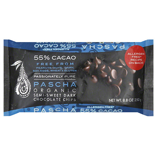 Pascha Organic 55% Cacao Semi-Sweet Dark Chocolate Chips, 8.8 oz, (Pack of 6)