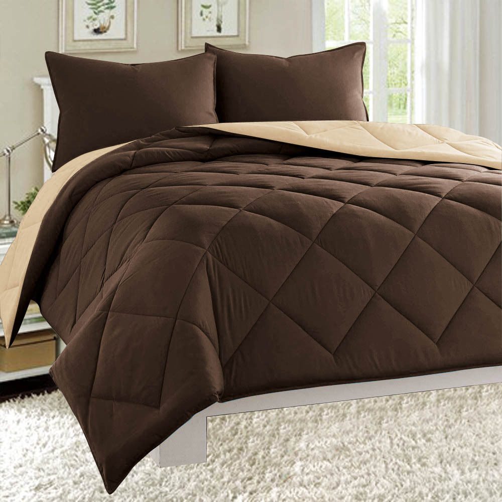 Down Alternative Dayton 3-Piece Reversible Comforter Set - Brown & Taupe - Twin Size