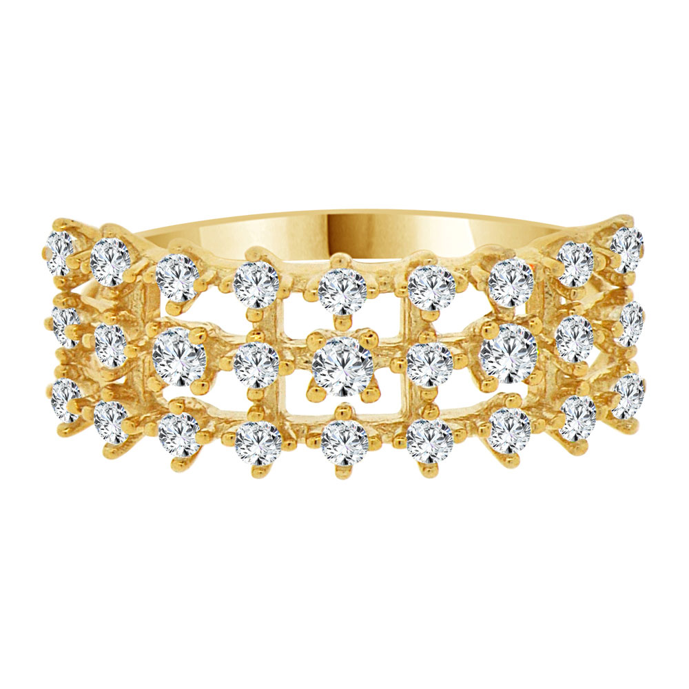 14k Yellow Gold, Fancy 3 Row Sparkling Created CZ Crystals Ring Size 6