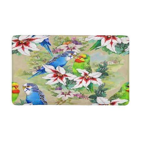 POP Exotic Parrots and Beautiful Flowers Pattern on Beige Front Door Mat 30x18 Inches Welcome Doormat for Home Indoor Entrance Kitchen Patio - image 3 of 3