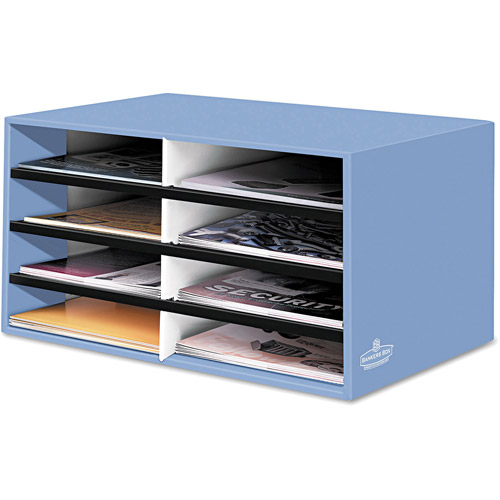 Bankers Box Decorative 8-Compartment Literature Sorter, Letter Size, Cornflower Blue
