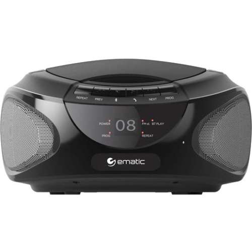 Ematic CD Boombox with Bluetooth Audio & Speakerphone EBB9224 - 1 x Disc Integrated Stereo Speaker - Black - CD-DA - Aux