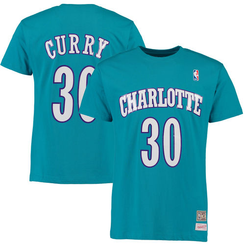 Men's Mitchell & Ness Dell Curry Teal Charlotte Hornets Hardwood Classics Name & Number T-Shirt