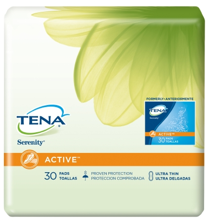 Bladder Control Pad Tena Serenity Active 9 Inch Length Moderate Absorbency Polymer Female Disposable Pack of 60