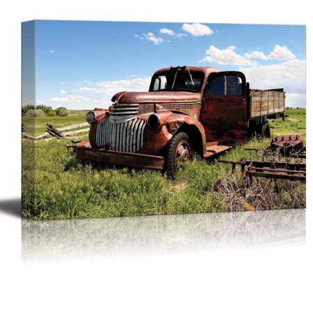 "wall26 - Canvas Prints Wall Art - Vintage Pickup Truck in a Field | Modern Wall Decor/Home Decoration Stretched Gallery Canvas Wrap Giclee Print. Ready to Hang - 16"" x 24"""