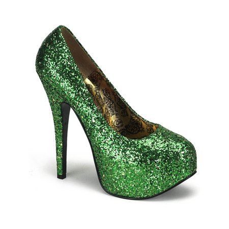 Womens St Pattys Day Pumps Green Glitter Shoes 5 3/4 Inch Heel St